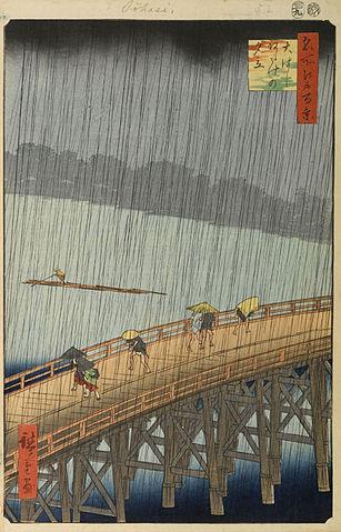 『名所江戸百景』の傑作『大はしあたけの夕立』(出典:wikipedia)