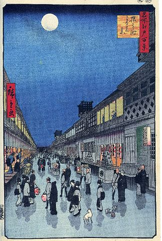 『名所江戸百景』猿わか町よるの景(出典:wikipedia)